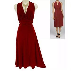 Size 12▪️SEXY DARK RED RUCHED MARILYN MIDI DRESS